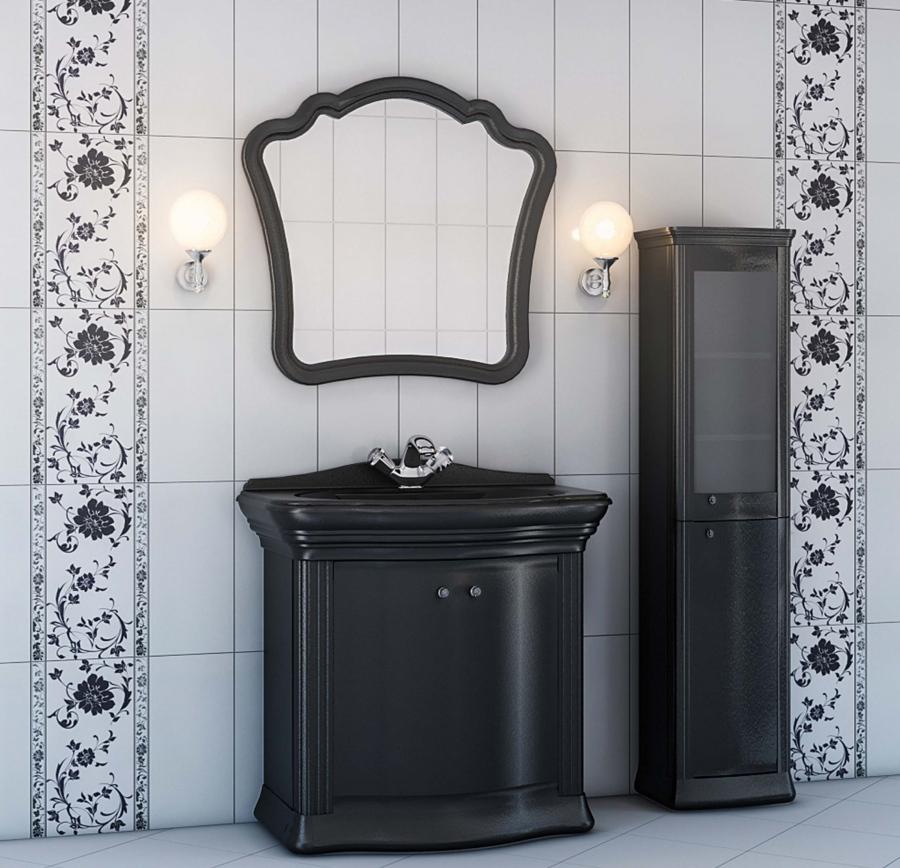 Черно белая мебель для ванной